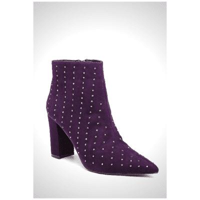 bottines violettes strass daim