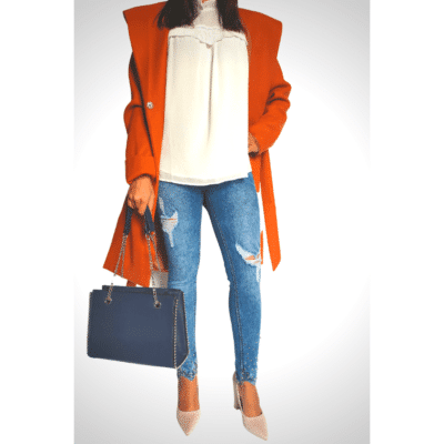 manteau orange large capuche avec ceinture