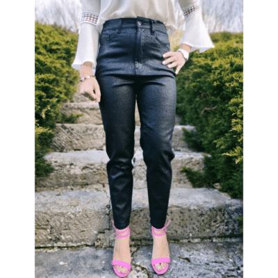 pantalon noir paillette mode femme taille haute extensible