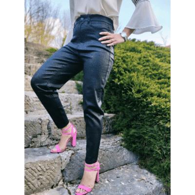 pantalon noir pailleté taille haute ultra élastique