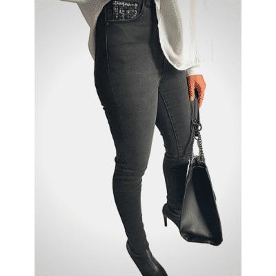 pantalon slim noir détail tweed taille haute mode femme