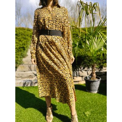 robe longue léopard jaune noir doré boutonnée