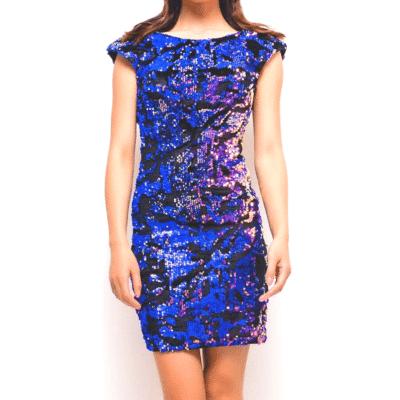 robe de soirée violette sequins et velours décolleté dos mode femme collection 100% sequins