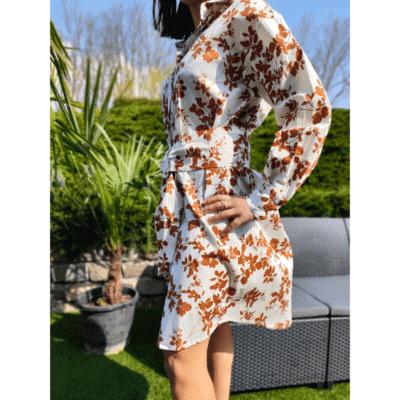 robe courte motif fleurs ample avec ceinture