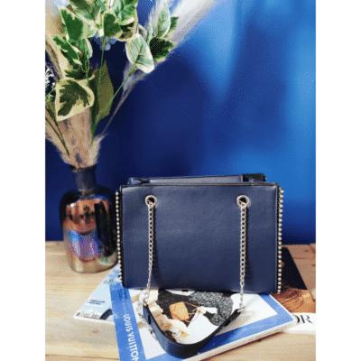 sac à main bleu billes métal anses chaînette