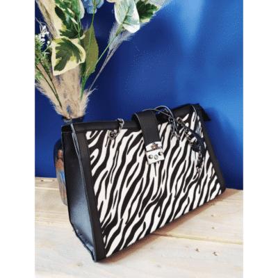grand sac à main motif animalier noir blanc