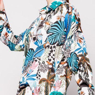 chemise motif tropical coupe ample effet satin