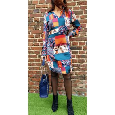 robe multicolore effet satin