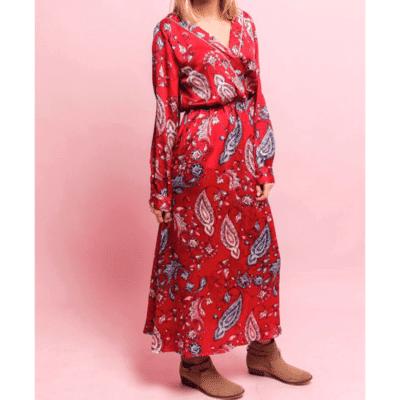 robe longue effet satin rouge