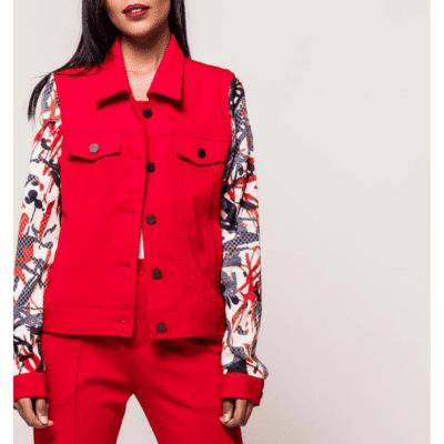 veste rouge courte imprimé manches grande taille