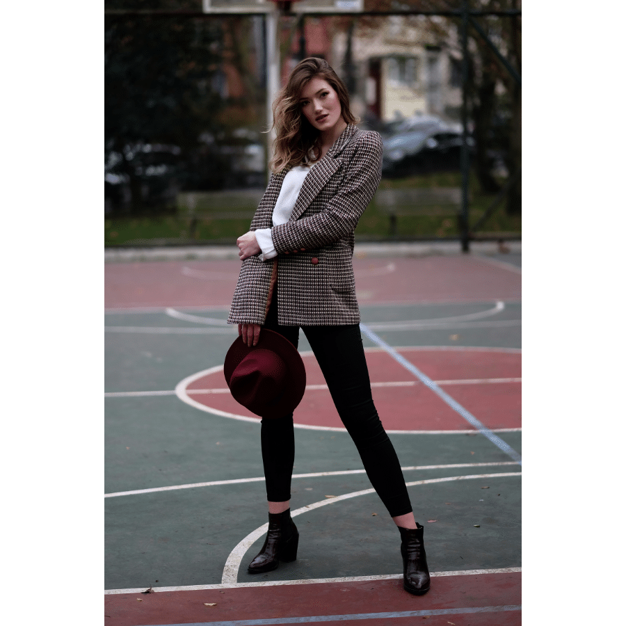 mode femme blazer à carreaux