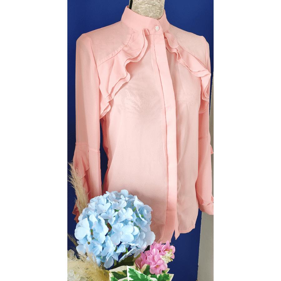blouse busca rose sur mannequin volants fluide et légère mode femme