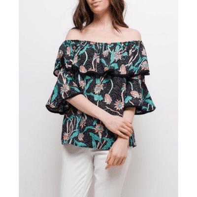blouse bayamo mode femme blouse à volants fleurs épaules dénudées
