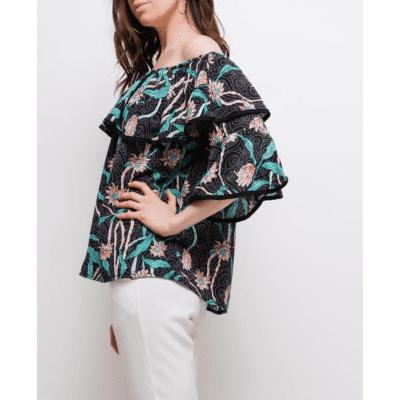 blouse bayamo profil mode femme été motif fleurs épaules dénudées