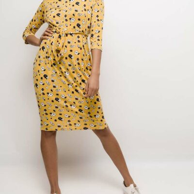 nouveautés mode femme été robe jaune motif fleurs