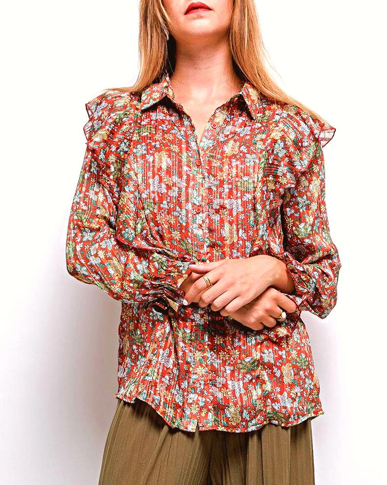 chemise femme imprimé fleurs couleur rouille