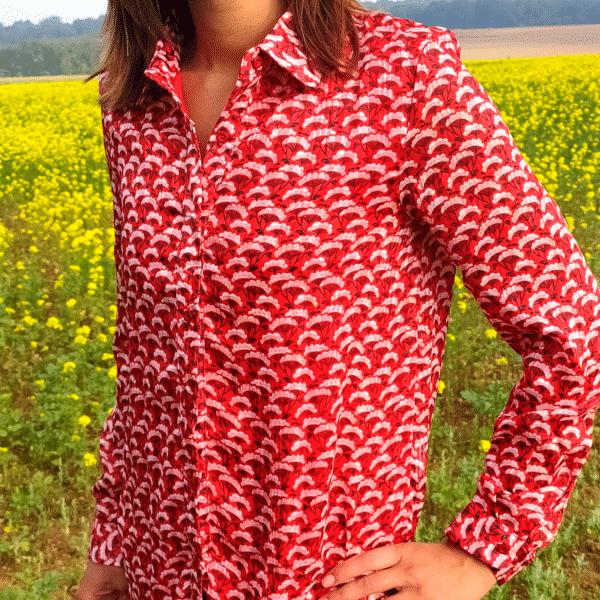 chemise rouge imprimé fleurs