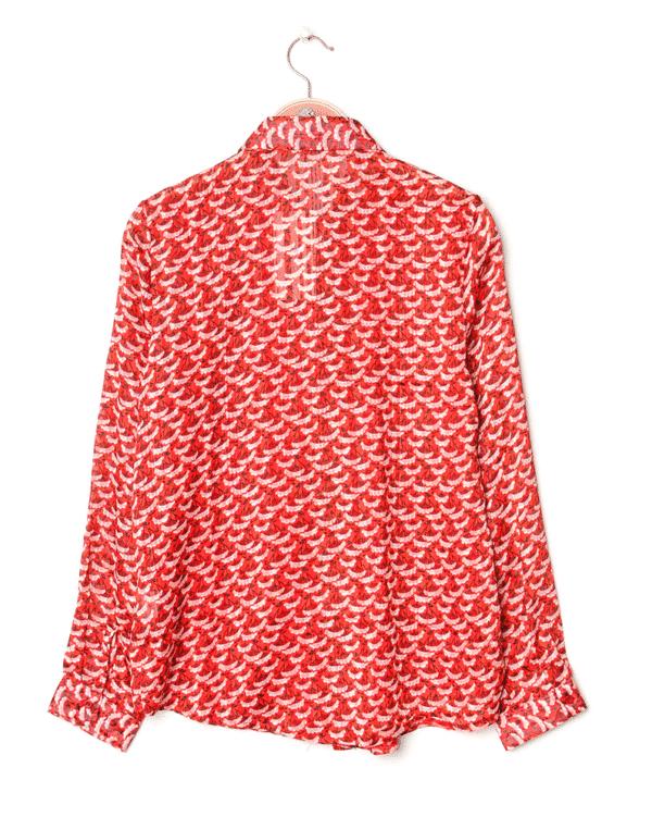 chemise rouge dos pour femme