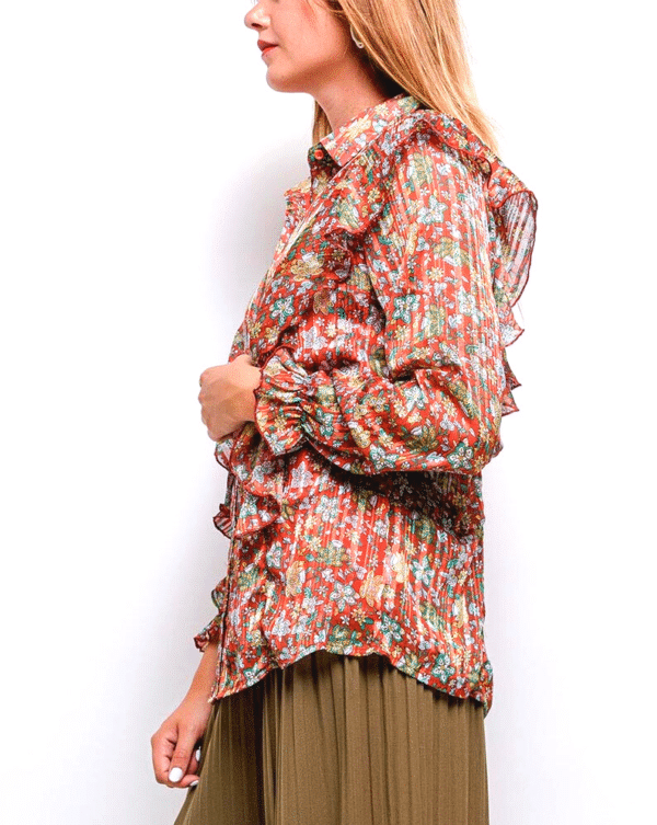 chemise femme à fleurs avec volants épaules